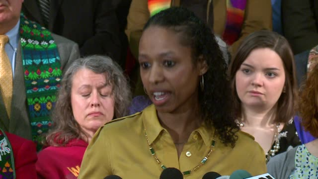 WGN Larycia Hawkins a professor at Wheaton College held a press conference January 6 2016 at the Chicago Temple 77 West Washington where she was...