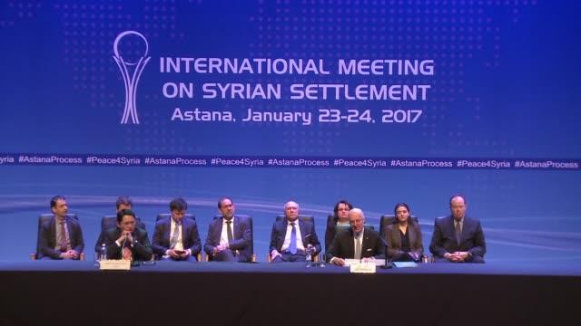 vídeos y material grabado en eventos de stock de las delegaciones rusa turca e irani alcanzaron el martes en kazajistan un acuerdo para consolidar el alto el fuego en siria pero la segunda jornada... - política y gobierno