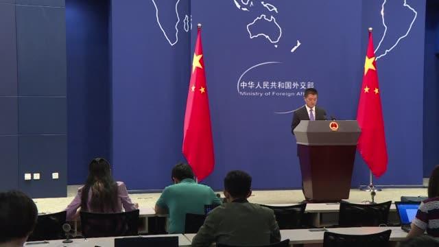 vídeos y material grabado en eventos de stock de las relaciones entre china y estados unidos se tensaron el viernes cuando pekin rechazo la venta de armas estadounidenses a taiwan y condeno las... - ee.uu