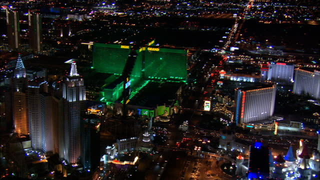 las vegas at night  - aerial view - nevada,  clark county,  united states - clark county nevada stock videos & royalty-free footage