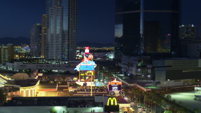 las vegas at night - drone shot with tilt - the strip las vegas stock videos & royalty-free footage