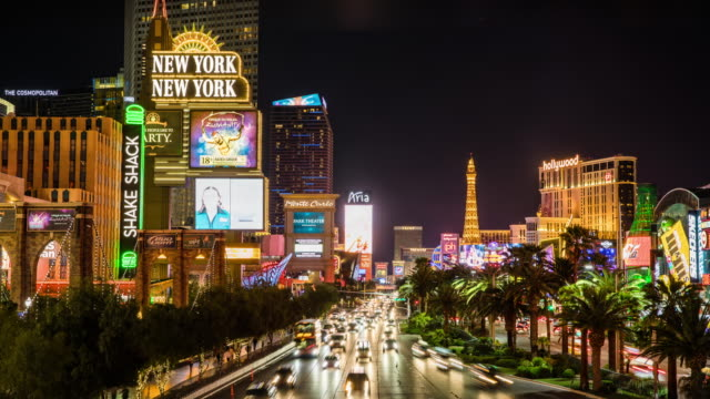 time lapse : las vegas at night ,usa, nevada - 4k cityscapes, landscapes & establishers - the strip las vegas stock videos and b-roll footage