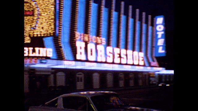 las vegas casinos at night, including binion's horseshoe casino. - horseshoe stock videos & royalty-free footage