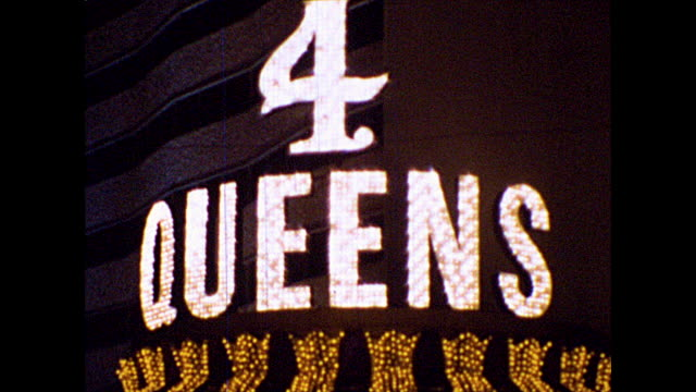 las vegas casinos at night including the 4 queens casino - 1960 1969 stock videos & royalty-free footage