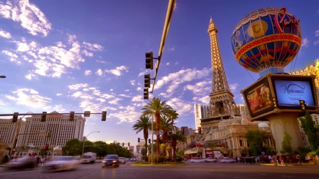 las vegas cityscape - las vegas replica eiffel tower stock videos and b-roll footage
