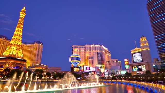 las vegas. fountain. eiffel tower. paris hotel - paris las vegas stock videos & royalty-free footage