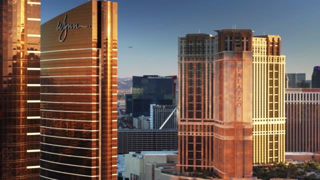 las vegas hotel towers - drone shot - venetian hotel las vegas stock videos & royalty-free footage