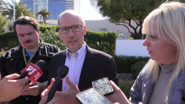 las vegas, nevada, usa: tom perez, chair of the democratic national committee, speaks to the media after democratic presidential hopefuls joined the... - medicare stock videos & royalty-free footage