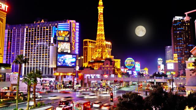 las vegas night. moon. cityscape panorama. - las vegas replica eiffel tower stock videos & royalty-free footage