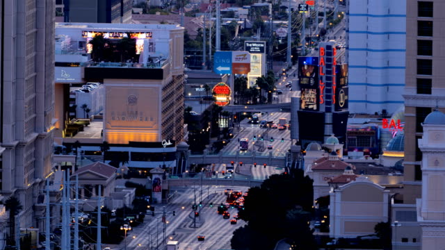 las vegas, nv: strip concepts from day and night: multiple billboards and logos - flamingo hilton stock videos & royalty-free footage