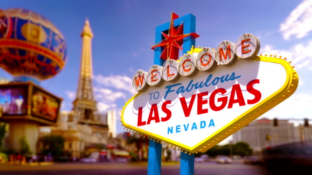 las vegas sign and cityscape - las vegas stock videos & royalty-free footage
