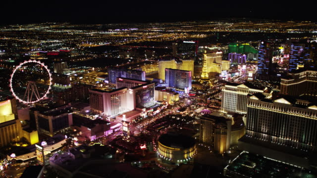 Las Vegas Strip Aerial View at Night