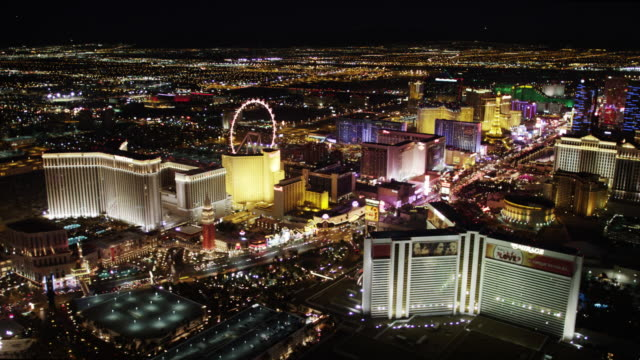 las vegas strip aerial view at night - las vegas stock videos & royalty-free footage