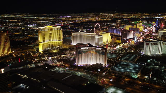 las vegas strip aerial view at night - the strip las vegas stock videos and b-roll footage