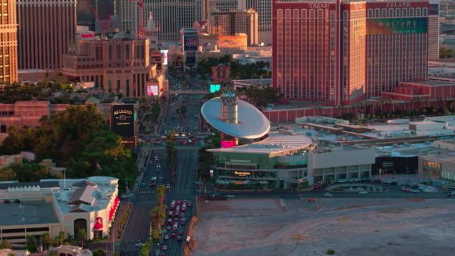 las vegas strip aerial view sunset - casino stock videos & royalty-free footage