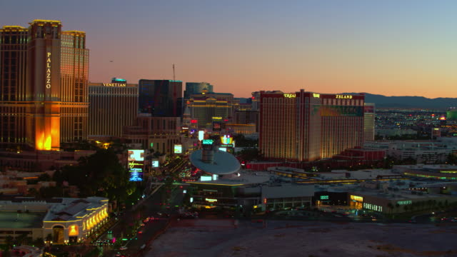 las vegas strip aerial view sunset - the strip las vegas stock videos & royalty-free footage
