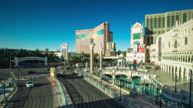 las vegas strip by day - time lapse - the mirage las vegas stock videos & royalty-free footage