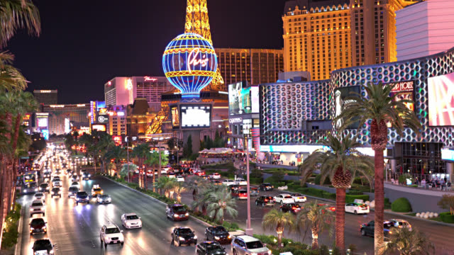 las vegas. the strip. night street - las vegas stock videos & royalty-free footage