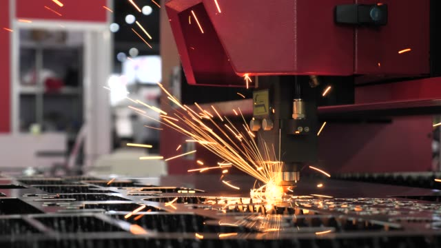 cnc laser cutting metal on factory - laser stock videos & royalty-free footage