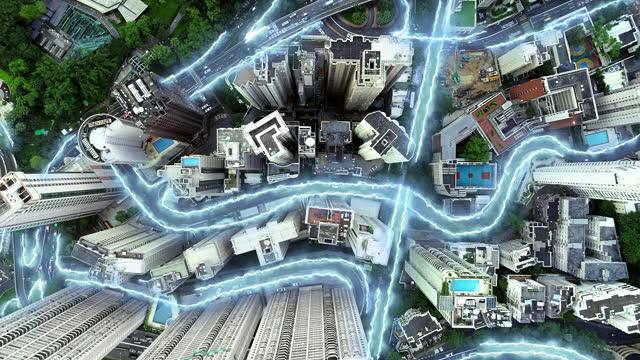 linea laser hong kong riprese aeree cablaggio elettrico sotterraneo e cavo internet. - cable video stock e b–roll
