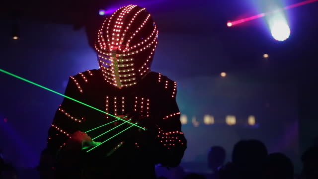 laser robot dancing in crowd at tokyo nightclub - cultures stock videos & royalty-free footage