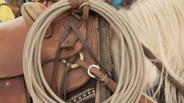 SLO MO CU TU Lasso on saddle and cowboy / Shell, Wyoming, USA