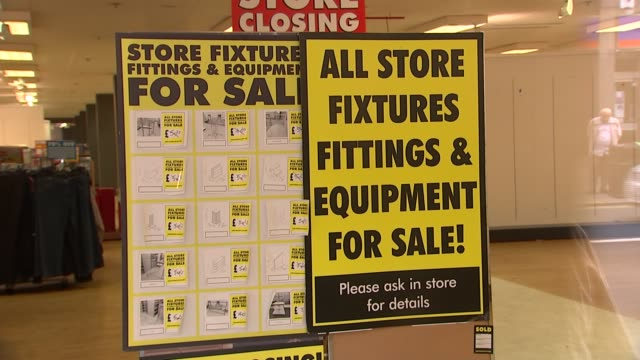 last bhs stores close their doors for the final time england london ext gvs bhs store with sale signs and customers waiting for doors to open /... - sale stock videos & royalty-free footage