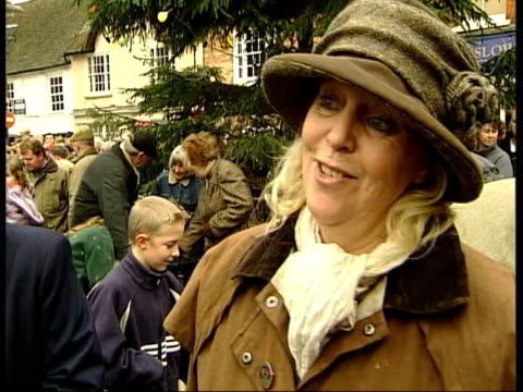 last boxing day meets before possible ban; itn england: buckinghamshire ext members of hunt riding thru square of market town to applause anti-hunt... - foxhound stock videos & royalty-free footage