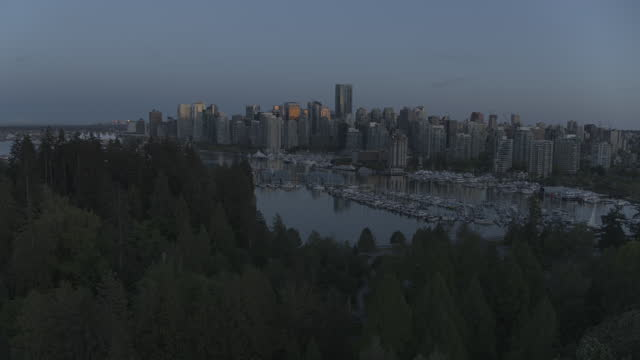 last light over downtown vancouver | 4k drone - tower stock videos & royalty-free footage