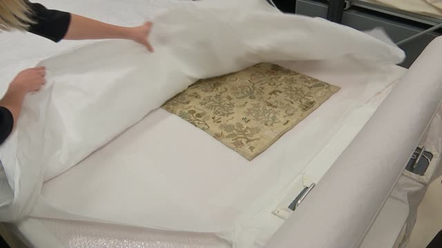 last piece of clothing of queen elizabeth i discovered in herefordshire church; england: herefordshire: bacton: ext time lapse / speeded up footage... - herefordshire stock videos & royalty-free footage
