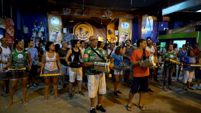 last practice for academicos da rocinha samba school in rio de janeiro the samba school located in front of rocinha favela january 31 2018 - brazilian carnival stock videos and b-roll footage