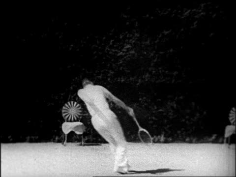 b/w late 1920s bill tilden playing tennis at hearst's san simeon estate / documentary - one mid adult man only stock videos & royalty-free footage