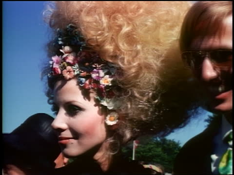 late 1960s portrait close up scandinavian woman with big frizzy hair standing at outdoor event - big hair stock videos and b-roll footage