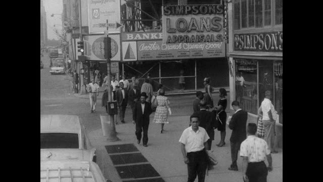 late '50s new york city african american pedestrians - anno 1958 video stock e b–roll