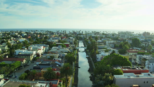 late afternoon in venice, california - drone shot - canal stock videos & royalty-free footage