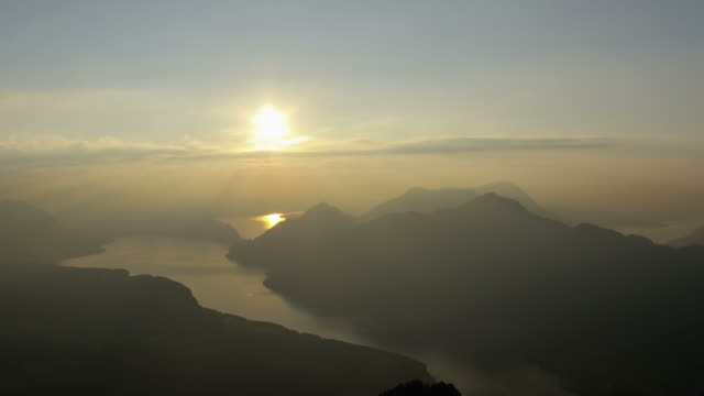 late afternoon timelapse scene of sun setting over lake in mountains