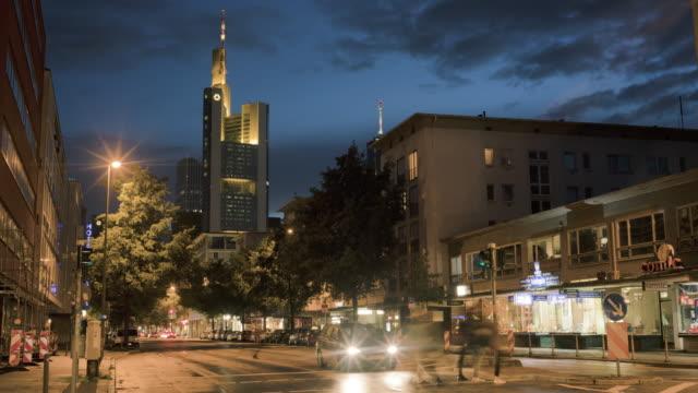 late night traffic traffic along the battonstrasse in frankfurt, germany - frankfurt main stock videos and b-roll footage