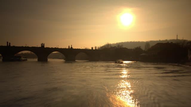 late sun on the vltava river. prague - river vltava stock videos & royalty-free footage