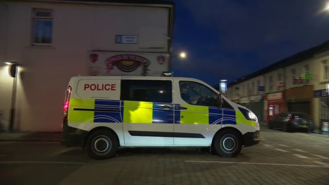 latest crime figures show a big rise in knife crime; wales: cardiff: ext at night police van driven away sword held int various of axe, knives and... - south wales stock videos & royalty-free footage
