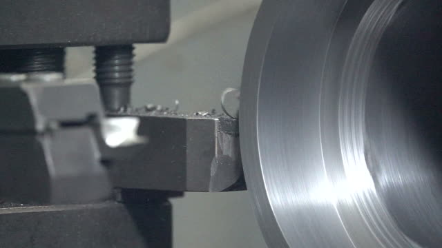 Lathe in factory slow motion