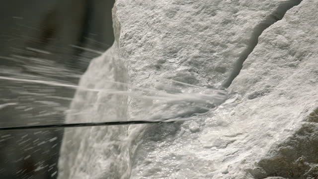 lathe slices through marble on naxos, greece - cutting stock videos & royalty-free footage