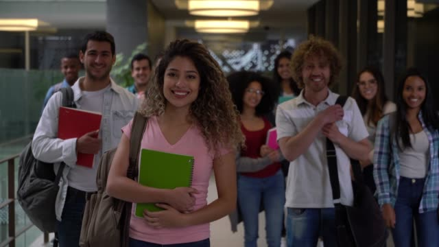 latin american group of college students facing camera smiling - adult stock videos & royalty-free footage