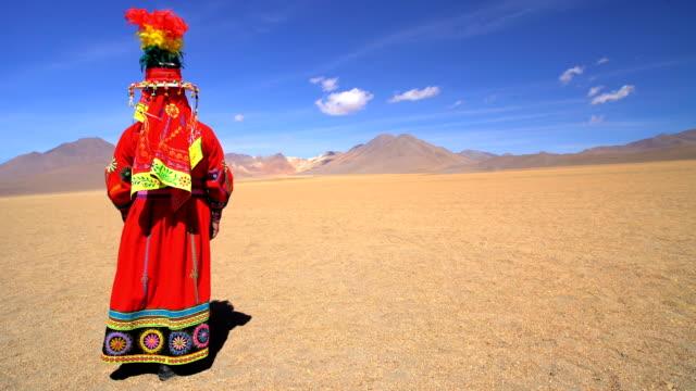 latin american indigenous women in salvador dali desert - headdress stock videos & royalty-free footage