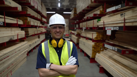 latin american man working at a home improvement store facing camera smiling with arms crossed - timber yard stock videos & royalty-free footage