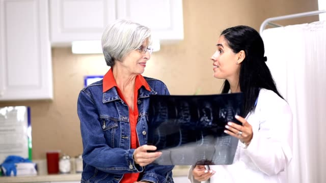 Latin descent, female doctor and senior adult patient in clinic.