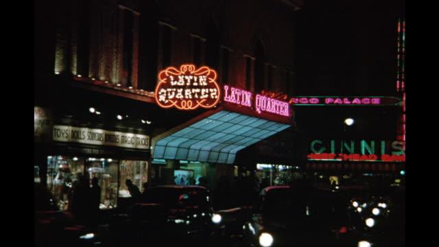 vidéos et rushes de 1954 ws latin quarter marquee, new york city, new york, united states - 1954