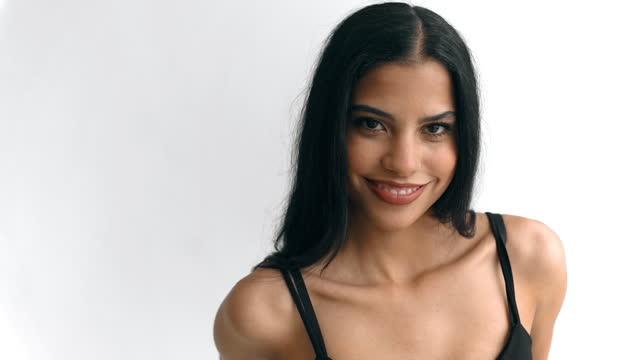 latin woman video portrait - tank top stock videos & royalty-free footage