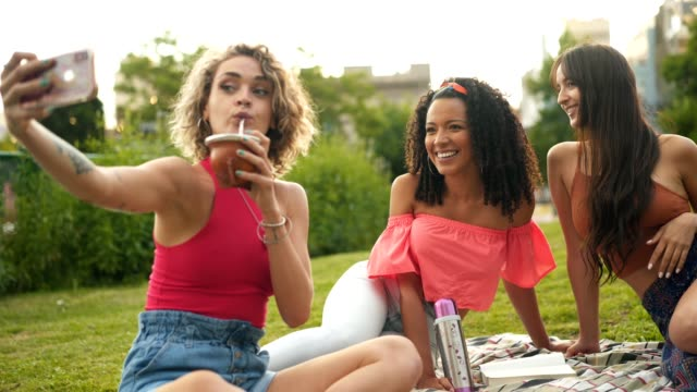 latin women taking selfie on a picnic - yerba mate stock videos & royalty-free footage