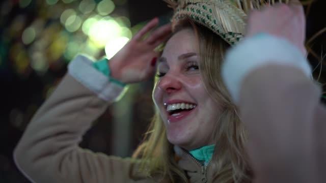latina woman enjoying the famous brazilian junina party (festa junina) - month stock videos & royalty-free footage