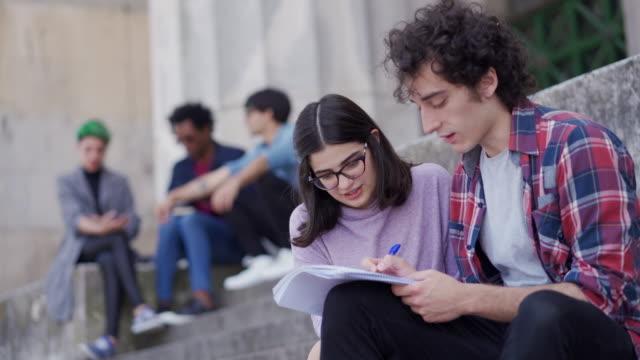 vidéos et rushes de étudiants universitaires latino-américains apprenant ensemble en plein air - buenos aires